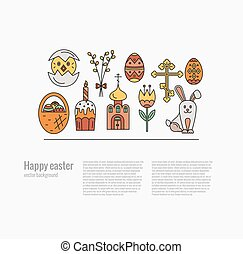 Vector concept with different Easter celebration elements...