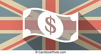 Long shadow UK flag icon with a dollar bank note -...