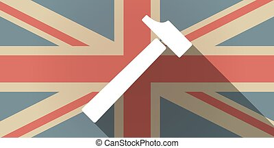 Long shadow UK flag icon with a hammer