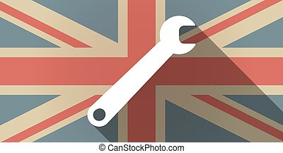 Long shadow UK flag icon with a spanner