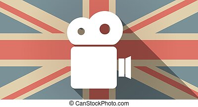 Long shadow UK flag icon with a film camera