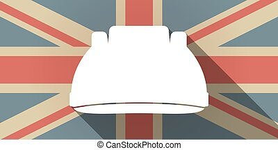 Long shadow UK flag icon with a work helmet