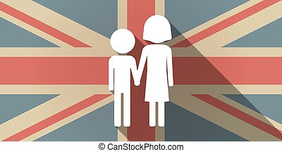 Long shadow UK flag icon with a childhood pictogram -...