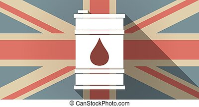 Long shadow UK flag icon with a barrel of oil