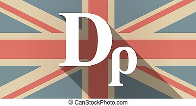 Long shadow UK flag icon with a drachma currency sign -...
