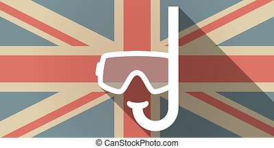 Long shadow UK flag icon with a diving goggles