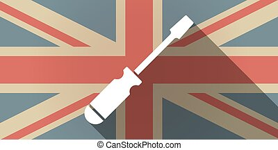 Long shadow UK flag icon with a screwdriver