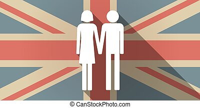Long shadow UK flag icon with a heterosexual couple...