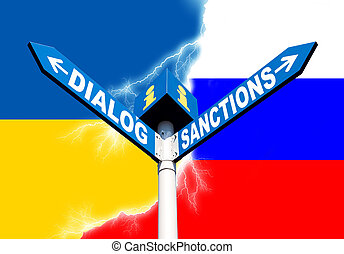 Dialog-Sanctions road sign - Political metaphor concept....
