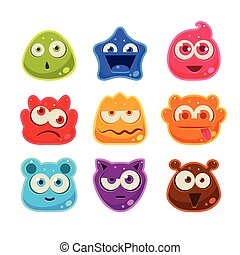 Bright Jelly Characters with Emotions. Vector Illustration -...
