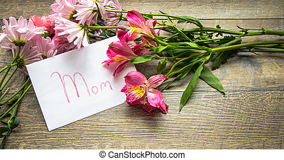Mother's Day Card With A Bouquet - Envelope with handwritten...