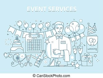 Line style design concept of special event and happy birthday party organization, catering service agency