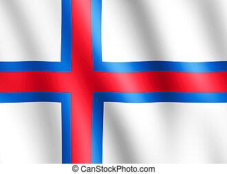 Flag of Faroe Islands waving in the wind