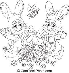 Easter card with rabbits - Little bunnies and a decorated...