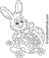Easter Bunny - Black and white vector illustration of a...
