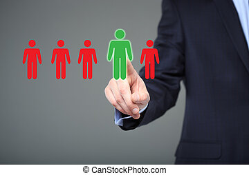 businessman choosing right partner from many candidates....