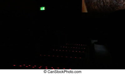 Exit sign and steps lights cinema - Dark cinema hall, only...