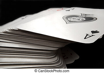 Deck of cards - Close and low level focussing on the top...
