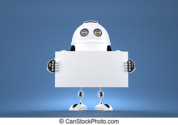 Android robot holding blank board. Contains clipping path