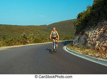 サイクリスト, 山, 女, 自転車, 乗馬, 道