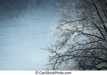 Grunge winter background with a tree and a sky - Grunge...