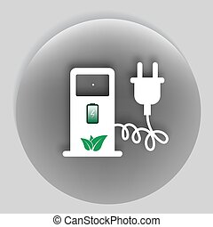 Electric car charging station sign icon Vector illustration