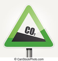 Traffic Sign CO2 - detailed illustration of a green downhill...