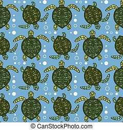 Sketch sea turtle pattern in vintage style