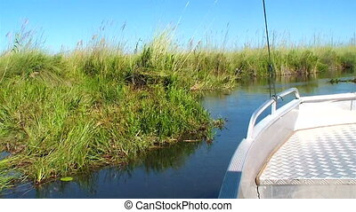 Power boat okavango delta Botswana - Power boat through the...