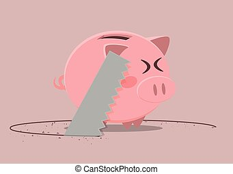 piggy bank saw - minimalistic illustration of a saw cutting...