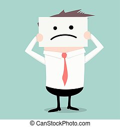 businessman hiding sad face - minimalistic illustration of a...
