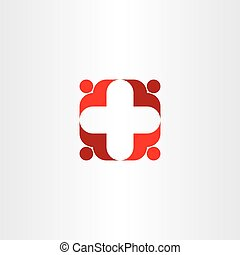 red cross icon people health vector teamwork