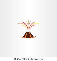 volcano lava explosion vector icon symbol