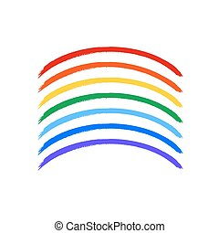 Art rainbow color brush strokes vector