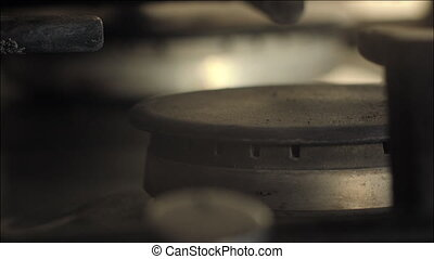 Turning on the Gas Hob Cooker - Closeup shot of a gas hob on...