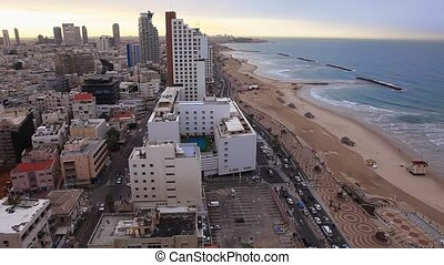 Morning in Tel Aviv top view with sea