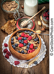Tasty breakfast with cereal and frut. - Tasty breakfast with...