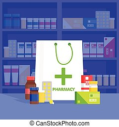 Modern interior pharmacy and drugstore.  Vector simple illustration.