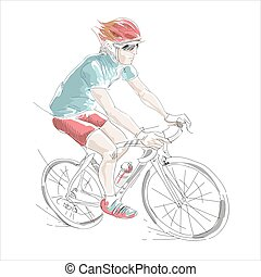 vector sketch style illustration of bicycle rider