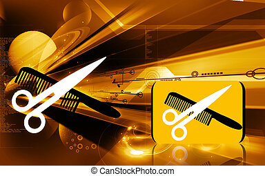 Scissors and comb - Illustration of a symbol of scissors and...