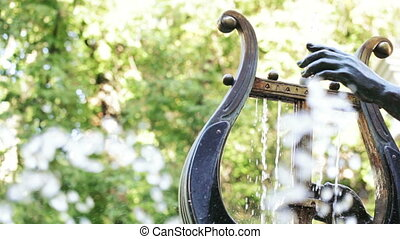 Fountain in form of harp - Working fountain in shape of...