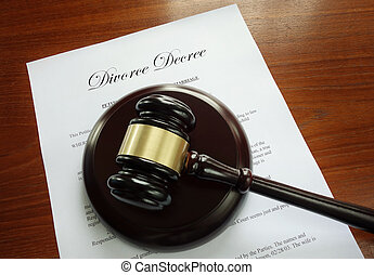 Divorce decree - Divorce Decree document with court gavel...