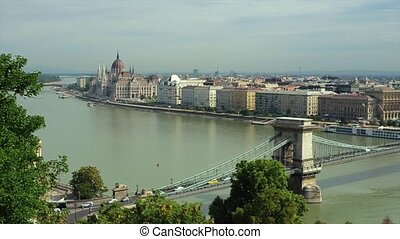 Danube and Parliament Building in Hungarian Capital Budapest...
