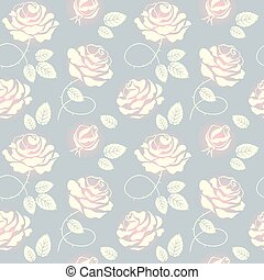 Pink roses on blue background seamless pattern