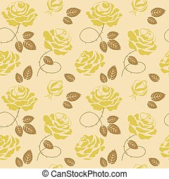 Green roses background seamless pattern