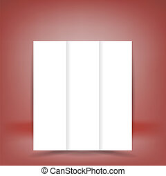 White Paper Brochure Isolated on Soft Red Background