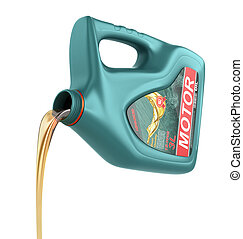 Pouring engine oil from its plastic container Motor oil