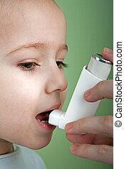asmático, inhalador