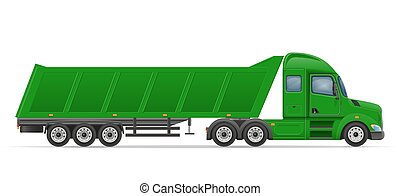 truck semi trailer for transportation of goods vector...