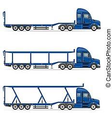 truck semi trailer for transportation of car vector...